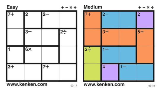 KenKen puzzles x 2