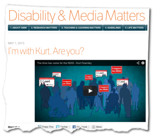 screen grab of the Disability Media Matters blog page featuring Kurt Fearnley's video of the Every Australian Counts, NDIS campaign.