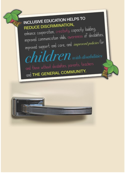 """Old fashioned fridge door image with a poster showing the text """"Inclusive education helps to reduce discrimination, enhance cooperation, creativity, capacity building, improved communication skills, awareness of disabilities, improved support and care, and improved policies for children with disabilities and those without disabilities, parents, teachers and the general community."""""""