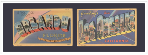 retro postcards greetings from Orlando & greetings from Los Angeles