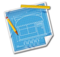 clipart image of a blueprint drawing with a ruler and pencil laying over them - blueprint sketch is ambiguous and not relevant to story - it's just an illustration