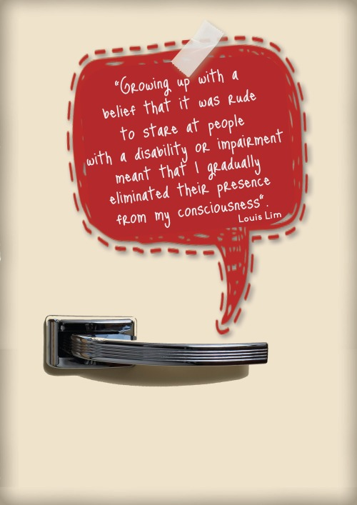 "image of a fridge door with a stylised note pad (red) speech bubble shape with the quote ""Growing up with a