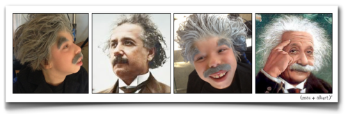 four images in row Mac in his albert einstein costume, then a young albert, Mac again and a caricature of Albert Einstein