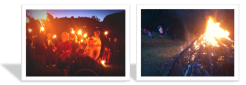 one night shot of lots of kids with lit sparklers above their head, the other of the bonfire just starting to take off with kids sitting on a grassy knoll
