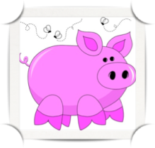 Cartoon image of a pink pig with flies buzzing around it to insinuate it's stinky.