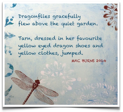"blue background with swirls and dragonflies with the chalkboard style text showing the punctuated writing ""Dragonflies gracefully