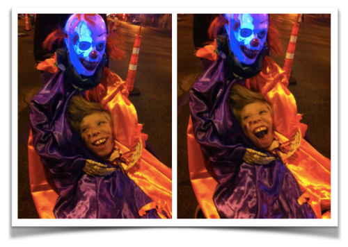 two shots of Mac and Hacky the clown with a beautiful smile on Mac's face in the first image and a totally wild smile in the second.  The skeleton skull of the 'hacky the clown' part of the costume is lighting up with different led colours... totally creepy.