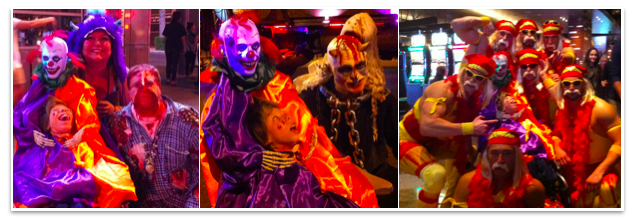 Mac & Hacky the clown with other creeps, zipper face guy, a horned satanic type character and a team of Hulk Hogans (wrestling legends)