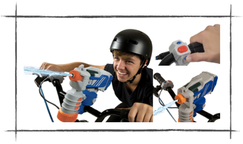 Image showing teenage boy riding a bmx bike with water pistol mounted on the handle bars (head & shoulder shot).  Inset pics show close up of the button control unit to press with your thumb to operate the water pistol, mounted next to the hand grip.  Additional closeup of the water pistol firing water.
